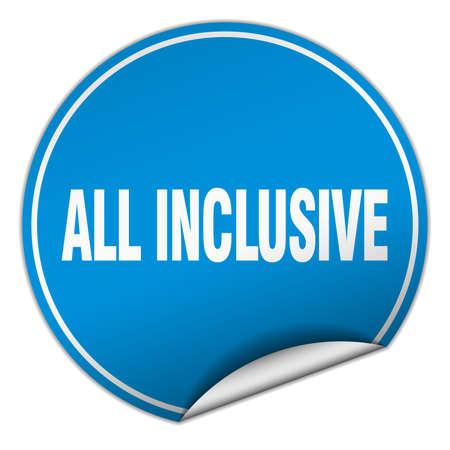 inclusive: all inclusive round blue sticker isolated on white