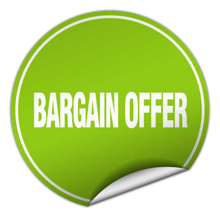 smlouvat: bargain offer round green sticker isolated on white