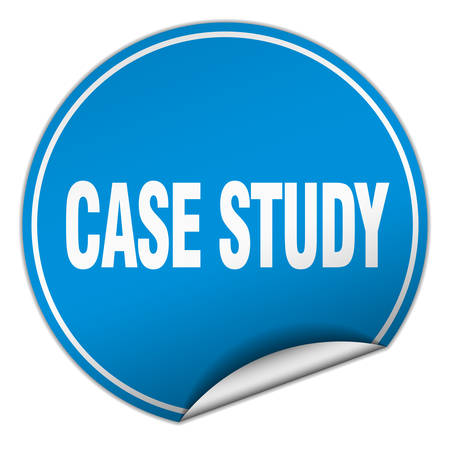 case studies: case study round blue sticker isolated on white