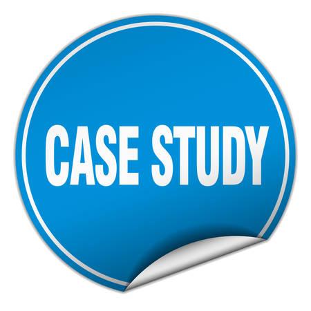 case study: case study round blue sticker isolated on white