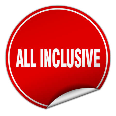 inclusive: all inclusive round red sticker isolated on white