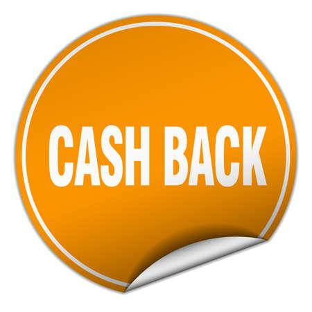 cash back: cash back round orange sticker isolated on white Illustration