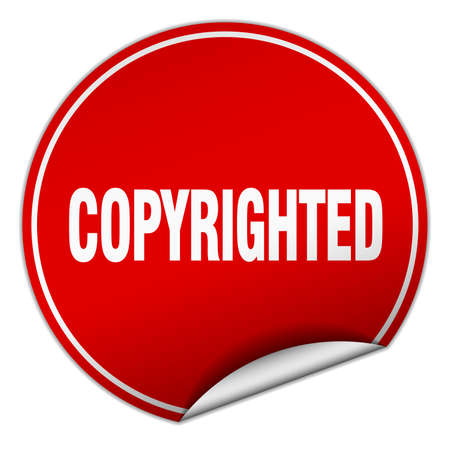 copyrighted: copyrighted round red sticker isolated on white