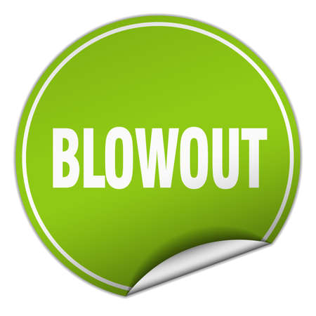 blowout: blowout round green sticker isolated on white Illustration