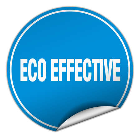 effective: eco effective round blue sticker isolated on white