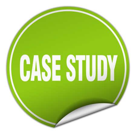 case study: case study round green sticker isolated on white