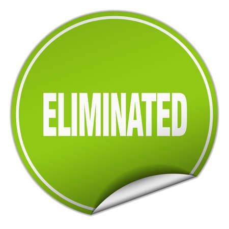 eliminated: eliminated round green sticker isolated on white Illustration
