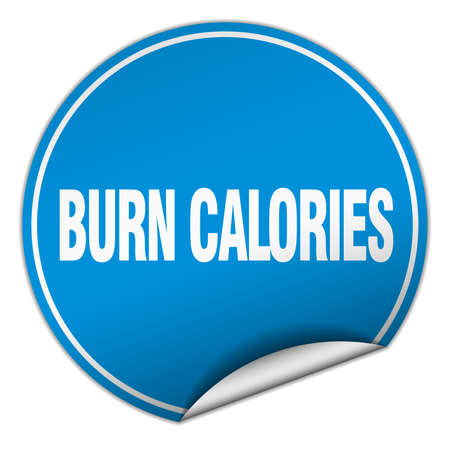 calories: burn calories round blue sticker isolated on white Illustration
