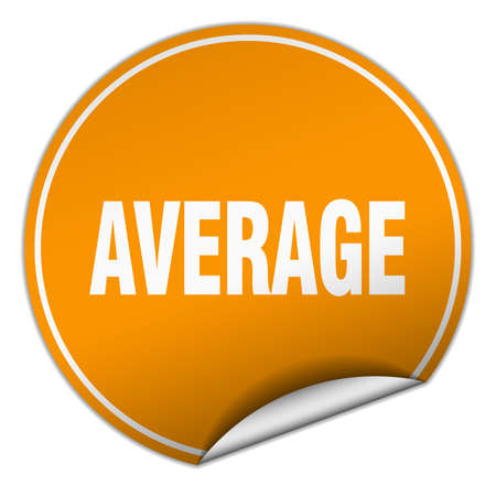 average: average round orange sticker isolated on white