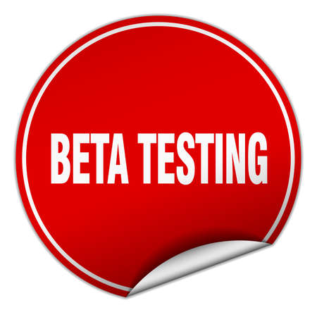 beta: beta testing round red sticker isolated on white