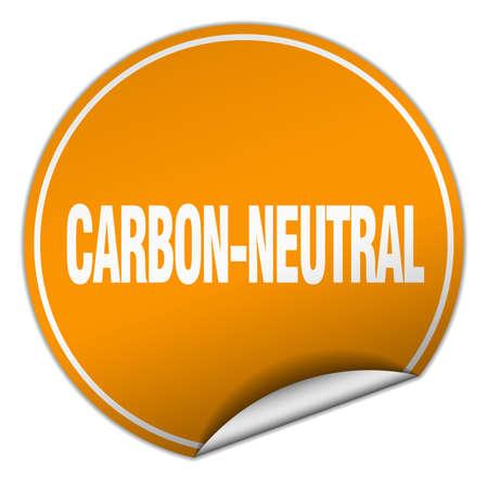 co2 neutral: carbon-neutral round orange sticker isolated on white Illustration