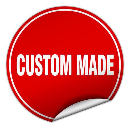custom made: custom made round red sticker isolated on white