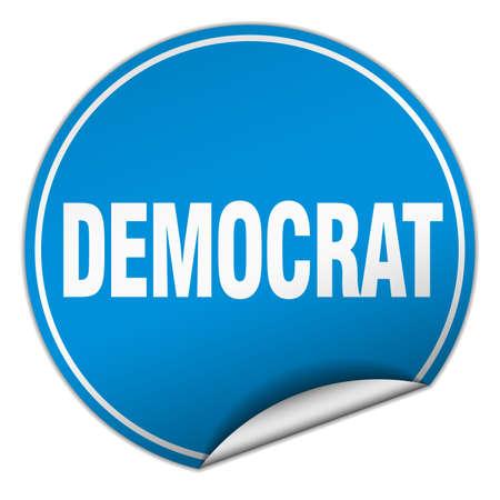 democrat: democrat round blue sticker isolated on white