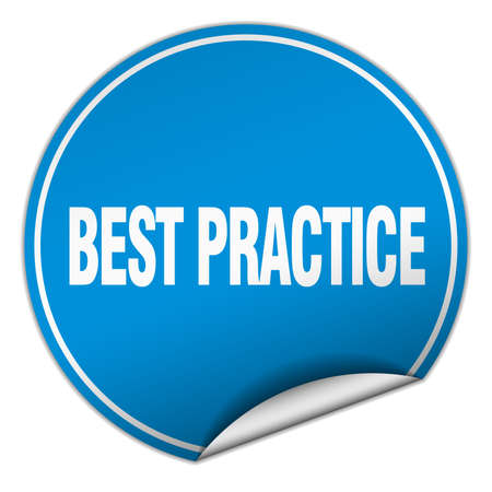 best practice: best practice round blue sticker isolated on white