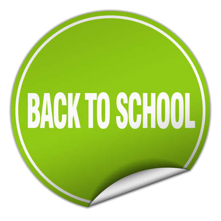 round back: back to school round green sticker isolated on white