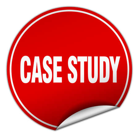 case study: case study round red sticker isolated on white