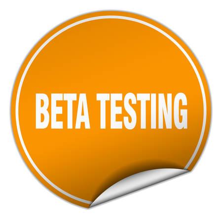tester: beta testing round orange sticker isolated on white