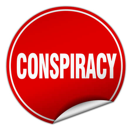conspiracy: conspiracy round red sticker isolated on white Illustration