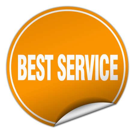 best service: best service round orange sticker isolated on white Illustration
