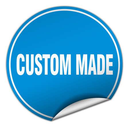 custom made: custom made round blue sticker isolated on white Illustration