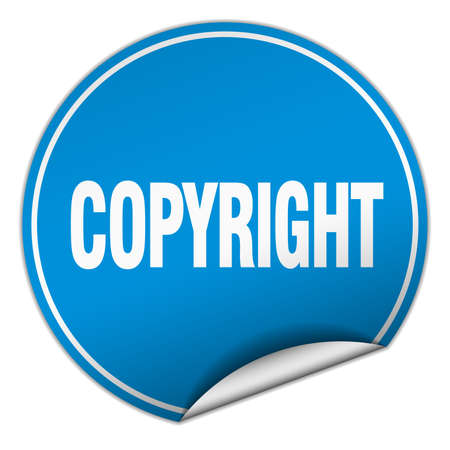 copyrighted: copyright round blue sticker isolated on white Illustration