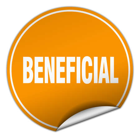 beneficial: beneficial round orange sticker isolated on white