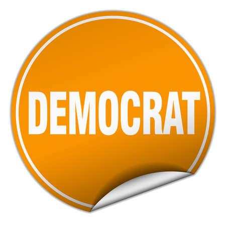 democrat: democrat round orange sticker isolated on white Illustration