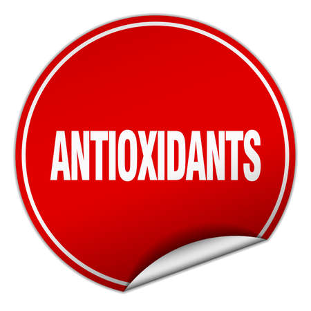 antioxidants: antioxidants round red sticker isolated on white