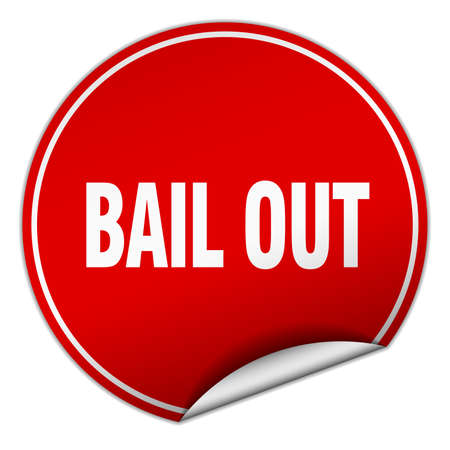 bail: bail out round red sticker isolated on white Illustration