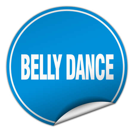 belly dance: belly dance round blue sticker isolated on white