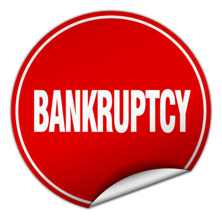 bankruptcy: bankruptcy round red sticker isolated on white