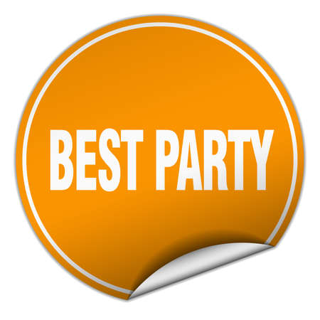 best party: best party round orange sticker isolated on white