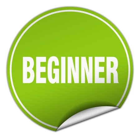 beginner: beginner round green sticker isolated on white Illustration