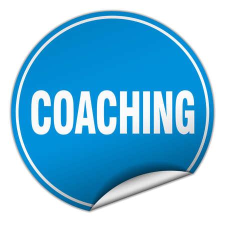 coaching: coaching round blue sticker isolated on white