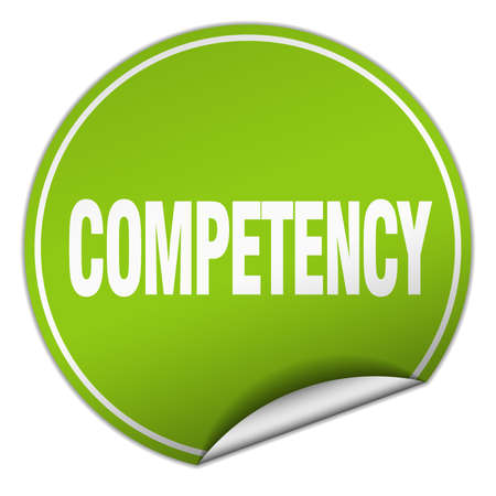 competency: competency round green sticker isolated on white