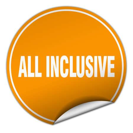 inclusive: all inclusive round orange sticker isolated on white