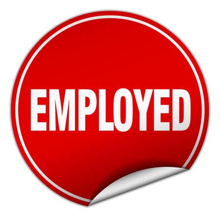 employed: employed round red sticker isolated on white Illustration