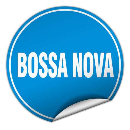 nova: bossa nova round blue sticker isolated on white