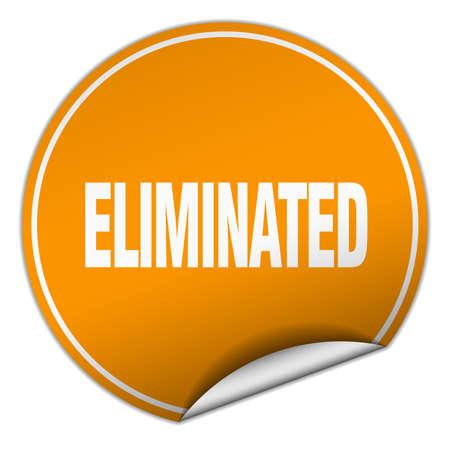 eliminated: eliminated round orange sticker isolated on white
