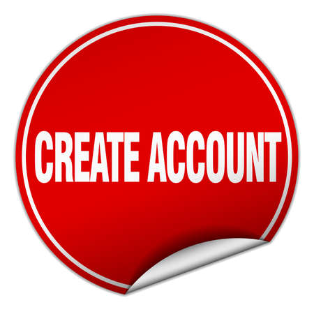 create: create account round red sticker isolated on white Illustration