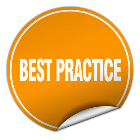 best practice: best practice round orange sticker isolated on white