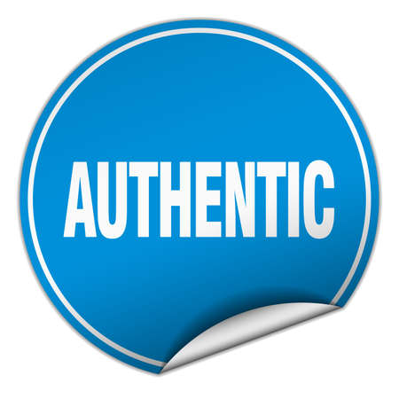 authentic: authentic round blue sticker isolated on white