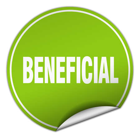 beneficial: beneficial round green sticker isolated on white Illustration