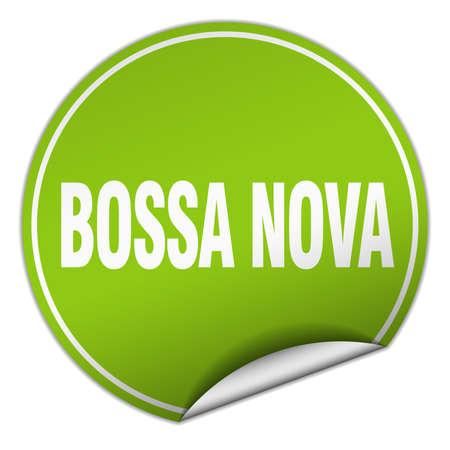 nova: bossa nova round green sticker isolated on white Illustration