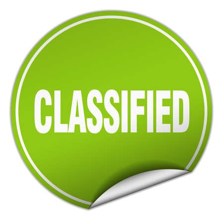 classified: classified round green sticker isolated on white Illustration