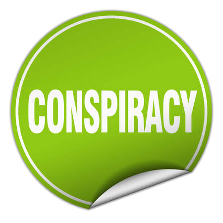 conspiracy: conspiracy round green sticker isolated on white