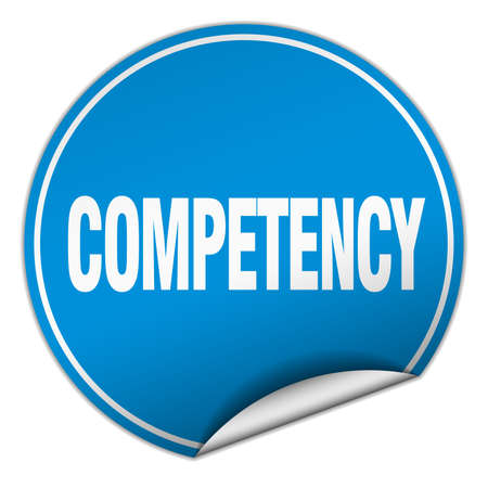 competency: competency round blue sticker isolated on white Illustration