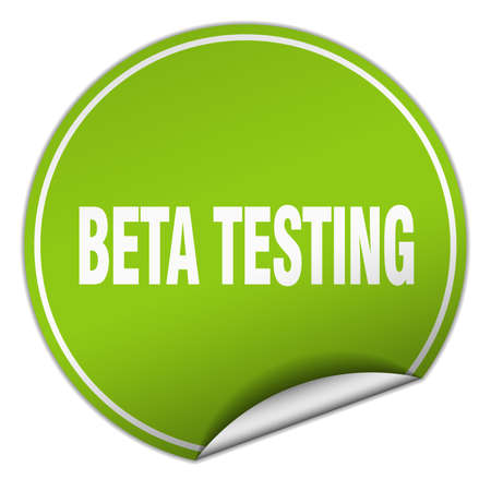 tester: beta testing round green sticker isolated on white Illustration