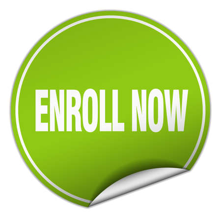 enroll: enroll now round green sticker isolated on white
