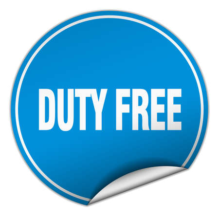 duty free: duty free round blue sticker isolated on white
